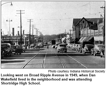 Looking west on Broad Ripple Avenue in 1949, when Dan Wakefield lived in the neighborhood and was attending Shortridge High School. Image courtesy Indiana Historical Society.