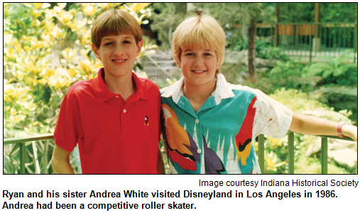 Ryan and his sister Andrea White visited Disneyland in Los Angeles in 1986. Andrea had been a competitive roller skater. Image courtesy Indiana Historical Society.